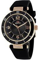 Seapro SP6414 Women's Seductive Black Silicone Watch with Crystal Accents