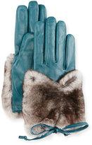 Imoni Leather & Rabbit Fur Gloves, Blue/Gray