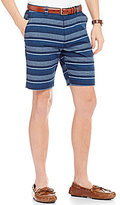 Roundtree & Yorke Casuals Flat Front Striped Chambray Shorts