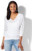 New York & Co. V-Neck Dolman Sweater - White