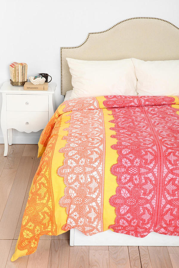 Urban Outfitters Plum & Bow Lace Stripe Duvet Cover