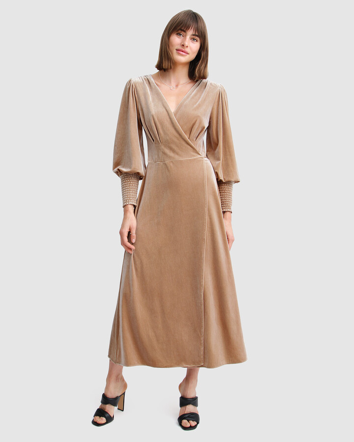 Thumbnail for your product : Belle & Bloom Women's Nude Midi Dresses - Current Mood Velvet Wrap Dress - Size One Size, S at The Iconic
