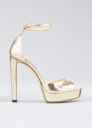 Jimmy Choo Pattie Lizard-Print Metallic Platform Sandals