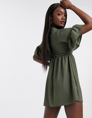 Ok Girl smock T-shirt dress in khaki