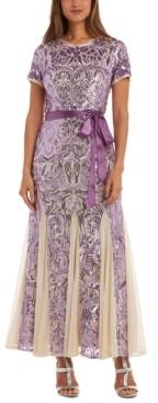 R & M Richards Embellished Godet-Hem Gown