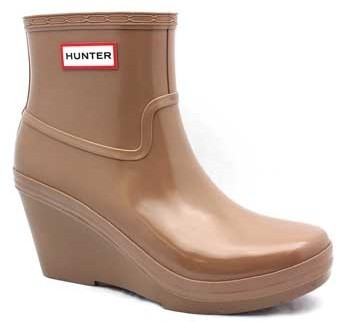 "Hunter Aston"" Tan Rubber Short Wedge Pull On Boot"