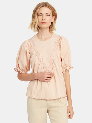 The Great The Sparrow Scallop Eyelet Top