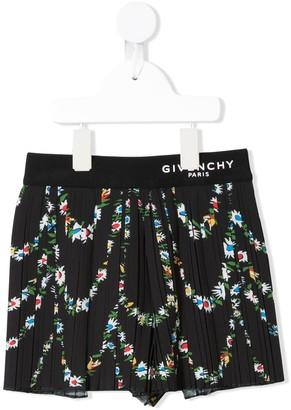 Givenchy Kids Floral Pattern Plisse Skirt
