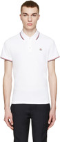 Moncler White Tricolor Trim Polo