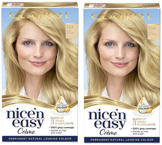 Clairol Nice' n Easy Creme Natural Looking Oil Infused Permanent Hair Dye Duo (Various Shades) - 10A Baby Blonde