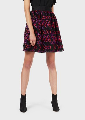 Emporio Armani Tulle Skirt With Geometric Embroidery