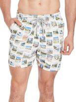 Saks Fifth Avenue Collection Post Card-Print Swim Trunks