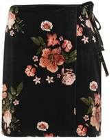 Floral velvet wrap skirt