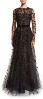 Oscar de la Renta Long-Sleeve Illusion Lace Taffeta Gown, Black