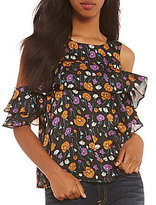 J.o.a. Printed Cold Shoulder Ruffle Top