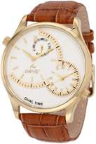 August Steiner Men's Classic Dual Time Watch with Gold-Tone Dial and Brown Leather Band ASA810YG