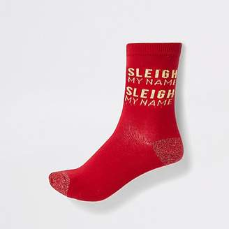 River Island Red 'Sleigh my name' ankle socks