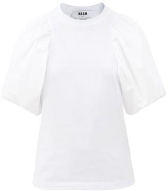MSGM Puff-sleeve Cotton-jersey T-shirt - White