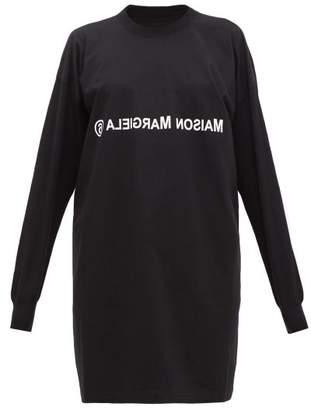 MM6 MAISON MARGIELA Logo-print Deconstructed T-shirt Dress - Womens - Black
