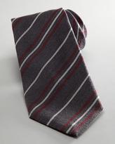 Salvatore Ferragamo Striped Flannel Tie, Gray
