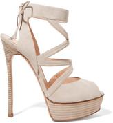 Casadei Peep-toe suede platform sandals