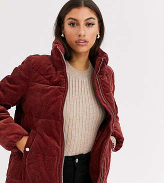 Vero Moda Tall cord velvet padded jacket-Brown