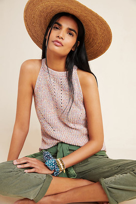 Anthropologie Isa Halter Sweater Tank By in Pink Size L P