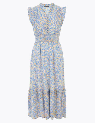 Marks and Spencer Pure Cotton Ditsy Floral Midi Waisted Dress