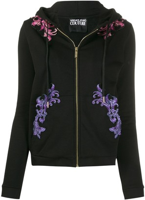 Versace embroidered drawstring hoodie
