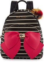 Betsey Johnson Bow Striped Faux-Leather Backpack, Black
