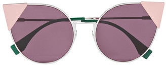 Fendi Cat-eye Silver-tone And Acetate Sunglasses