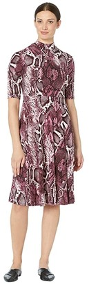Donna Morgan Mock Neck Snake Skin Print Matte Jersey Dress (Raspberry) Women's Dress