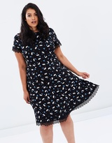 Lace Trim Fit-And-Flare Dress
