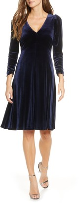Eliza J Long Sleeve V-Neck A-Line Velvet Dress