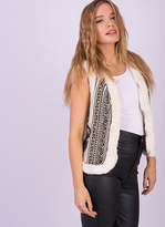 Missy Empire Sharla Cream Faux Fur Trim Gilet