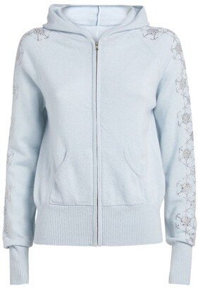 William Sharp Cashmere Embellished-Sleeve Hoodie