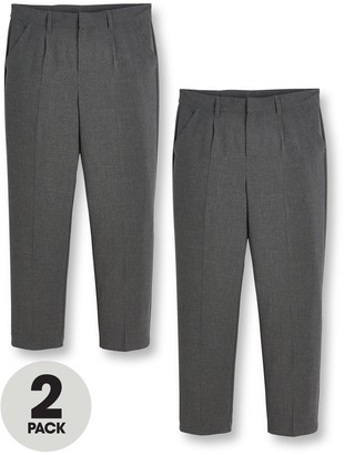 Very Boys 2 Pack Classic Woven Regular School Trousers - Grey