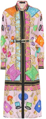 Versace Printed silk midi shirt dress