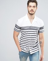 BOSS ORANGE by Hugo Boss Short Sleeve Shirt Revere Collar Varied Stripe Regular Fit in White
