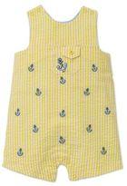 Little Me Size 6M Seersucker Anchor Sunsuit in Yellow/Blue