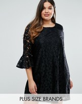 Alice & You Allover Lace Prairie Dress With Fluted Sleeve