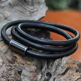 Black Leather Magnetic Wrap Bracelet from Brazil, 'Three Turns in Black'