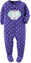 Carter's 1-Pc. Dot-Print & Bear Footed Pajamas, Baby Girls (0-24 months)