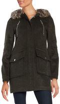 BCBGeneration Faux Fur Trimmed Duffle Coat