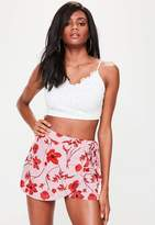 Missguided Tall Pink Floral Print Wrap Over Skorts, Pink