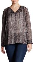 Susina Long Sleeve Sheer Blouse (Plus Size)