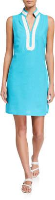 Sail to Sable Linen-Blend Short Tunic Dress