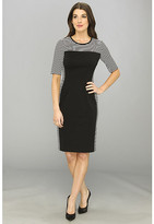 Maggy London Elbow Sleeve Stripe/Solid Sheath Combo Dress