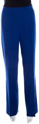 Escada Cobalt Blue Textured Wool and Silk High Waist Tanja Trousers M