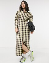 Thumbnail for your product : Lost Ink full maxi shirt dress in vintage check